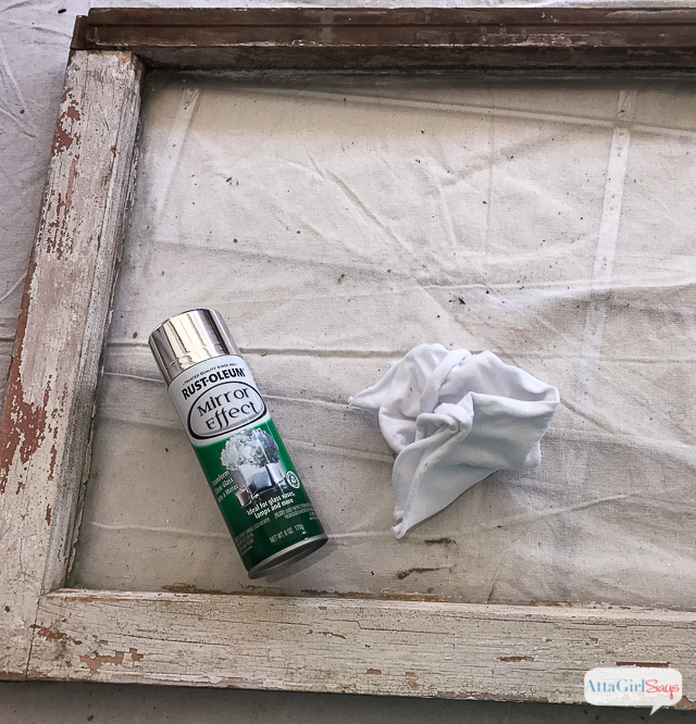 Use Rustoleum Mirror Effect spray paint to transform an old window into a mercury glass window pane mirror.