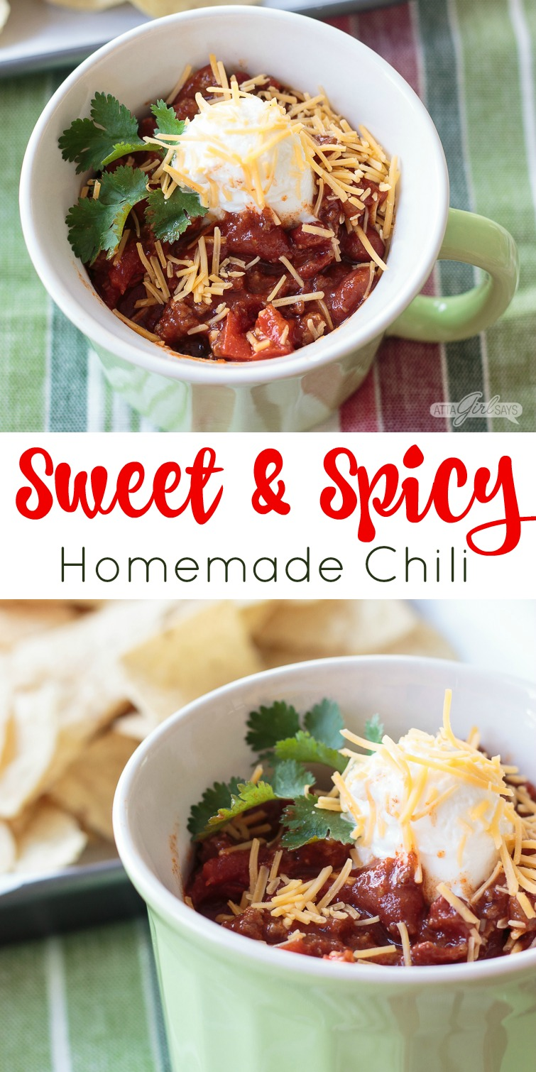 With just a hint of sweetness to counter the heat, this spicy homemade chili recipe is bursting with flavor. It's thick and hearty, too, packed with beans, tomatoes, peppers, onions, beef and ground sausage. Great comfort food on cold days or for football watching. Serve the leftovers over baked potatoes, nachos or macaroni noodles.
