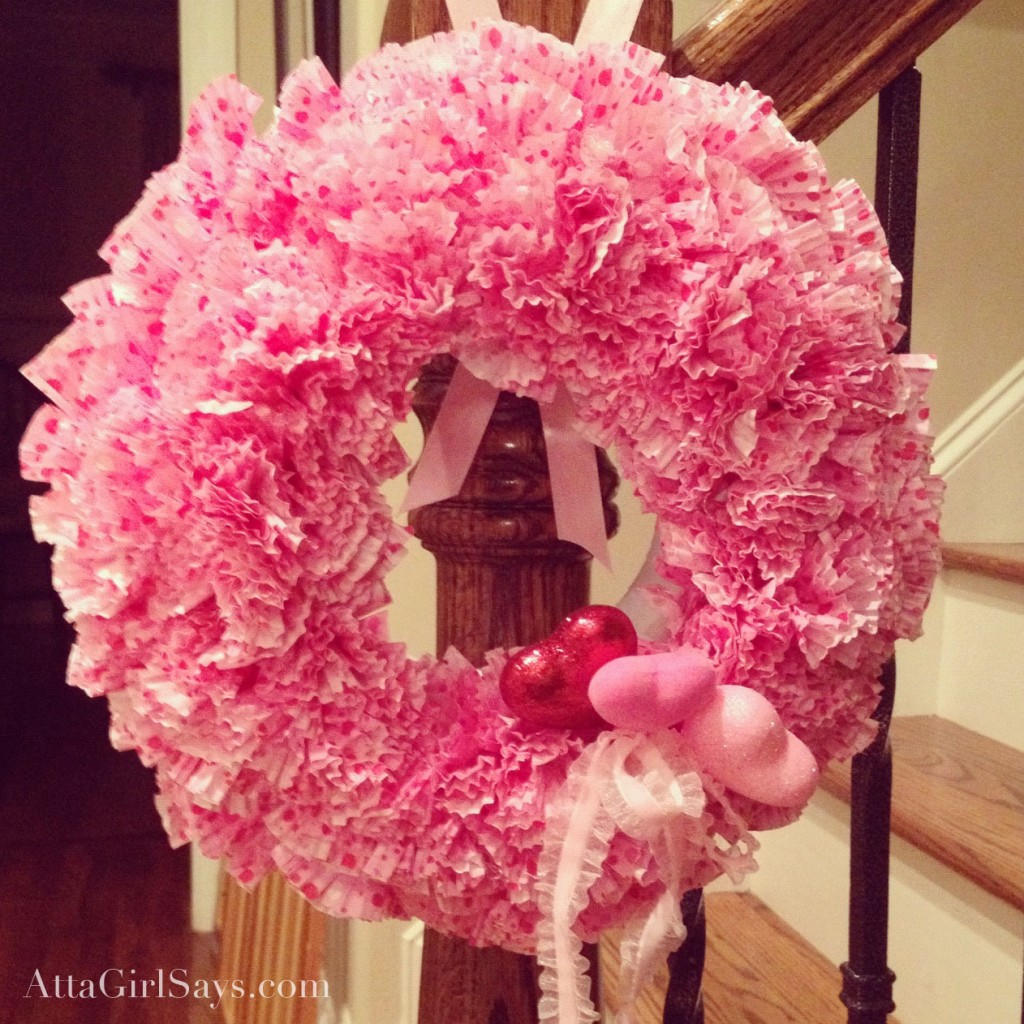 Dollar store craft Valentine's Day cupcake liner wreath by AttaGirlSays