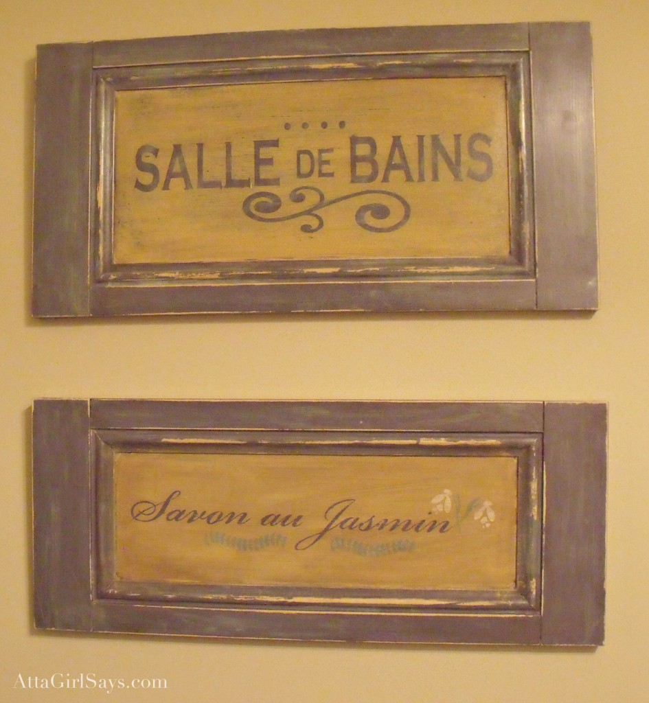 handpainted salle de bains signs by AttaGirlSays.com