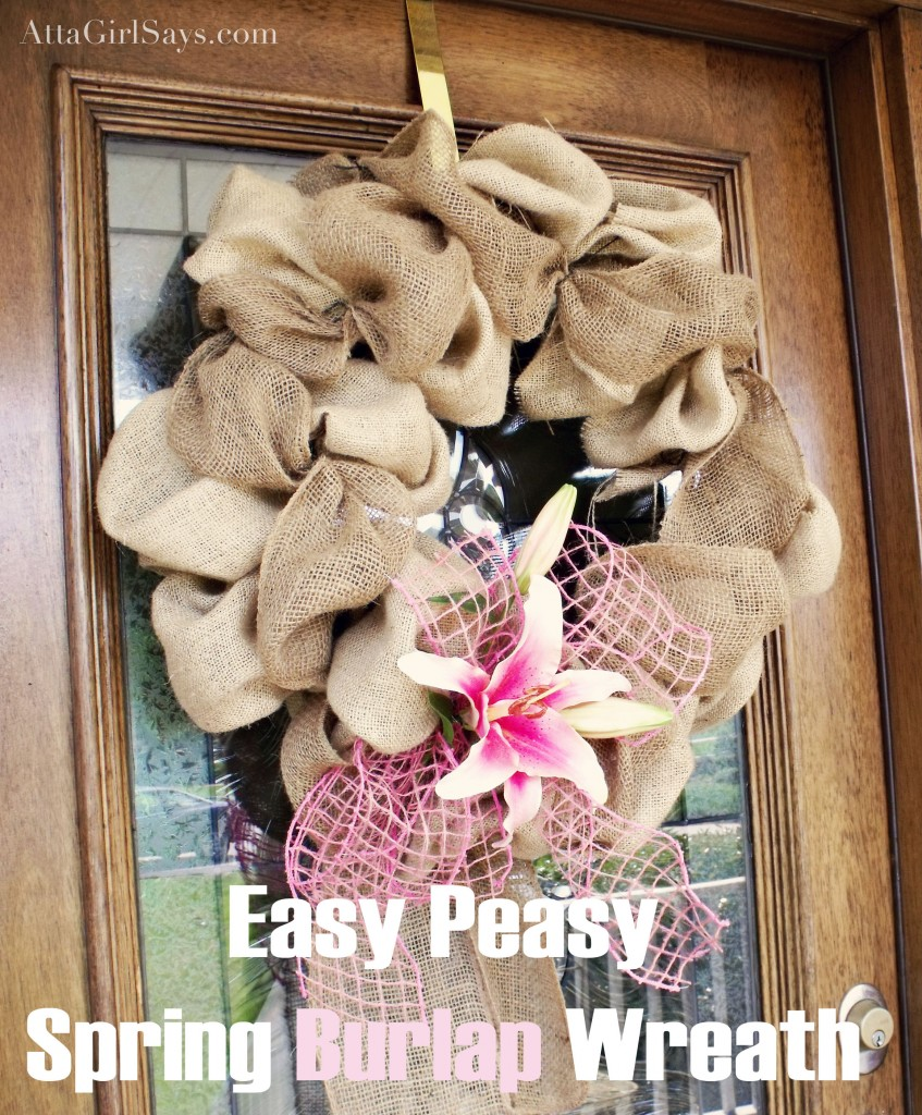 burlap lily spring wreath atta girl says. Black Bedroom Furniture Sets. Home Design Ideas