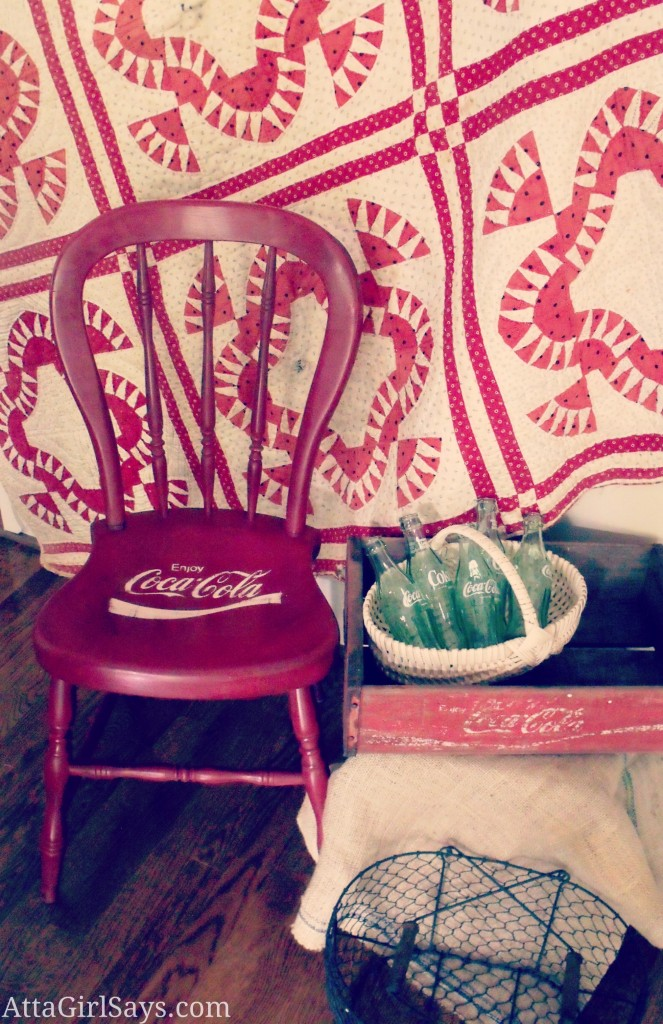 Vintage Coke Logo Handpainted Red Chair
