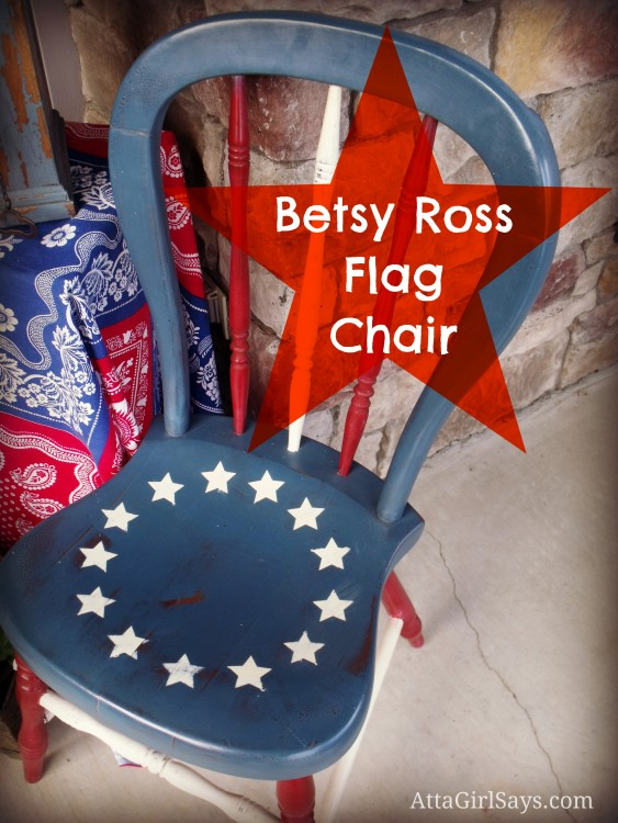 Stenciled Red White Blue Painted Betsy Ross Flag Chair