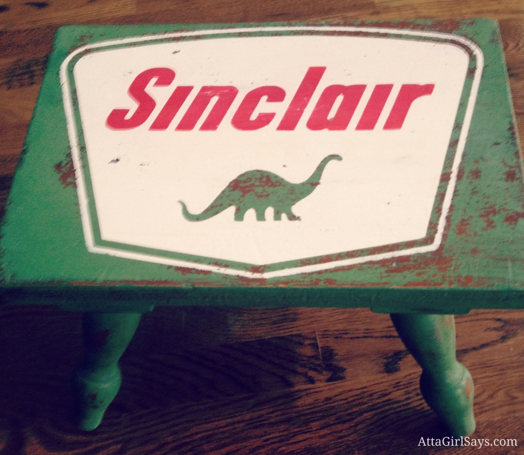 Handpainted Sinclair Oil Dinosaur logo green stool by AttaGirlSays.com