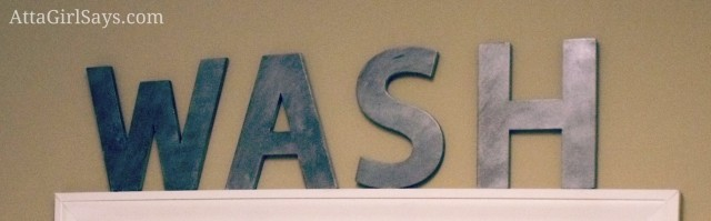 Faux Zinc Letters WASH sign for laundry room