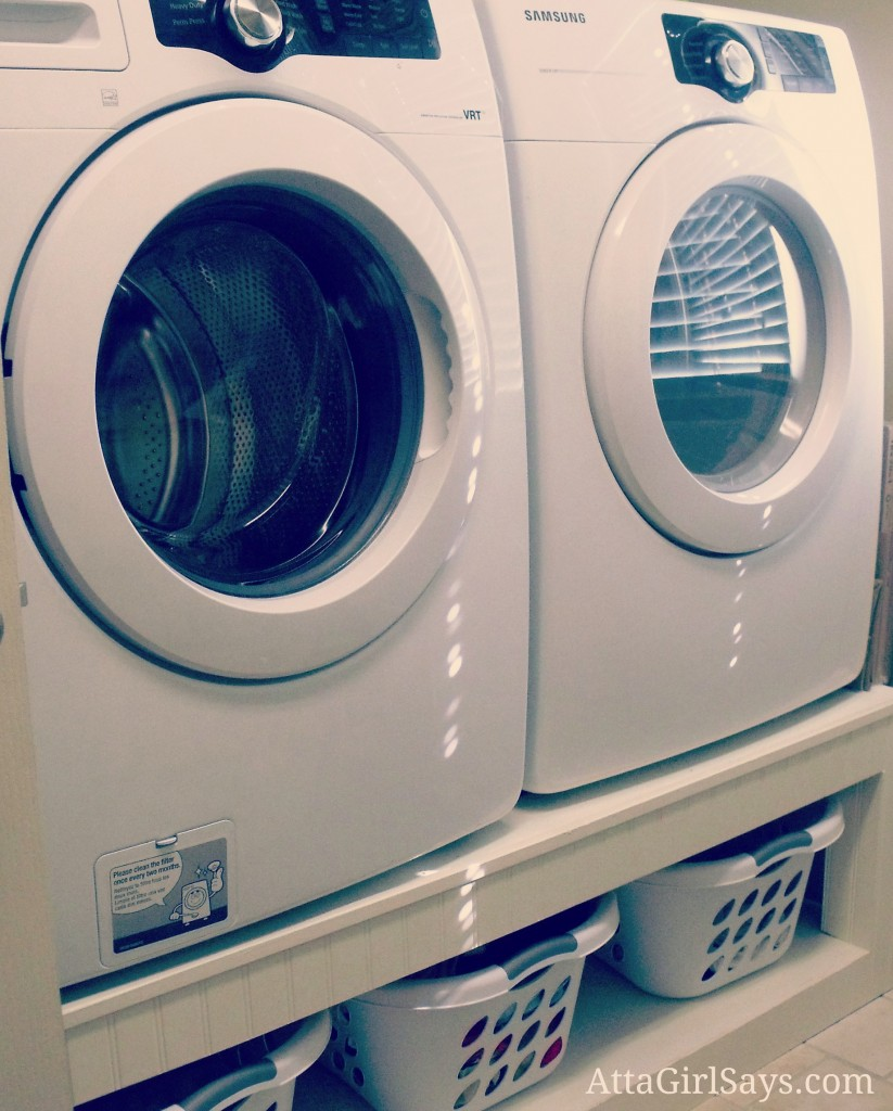 Save your back and make room for storage by building a laundry pedestal to raise your washer and dryer