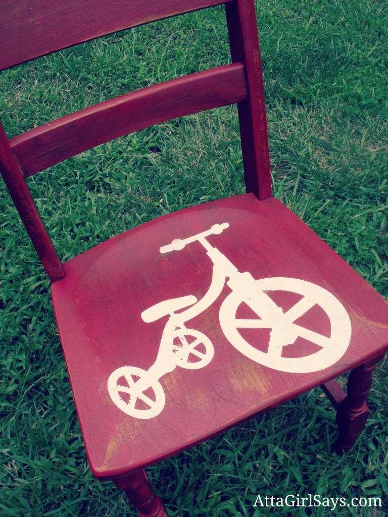 Milk Paint Red Tricycle Chair Stencil by AttaGirlSays.com