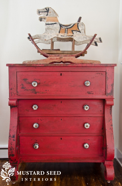 Miss Mustard Seed's Milk Paint Tricycle Red Dresser
