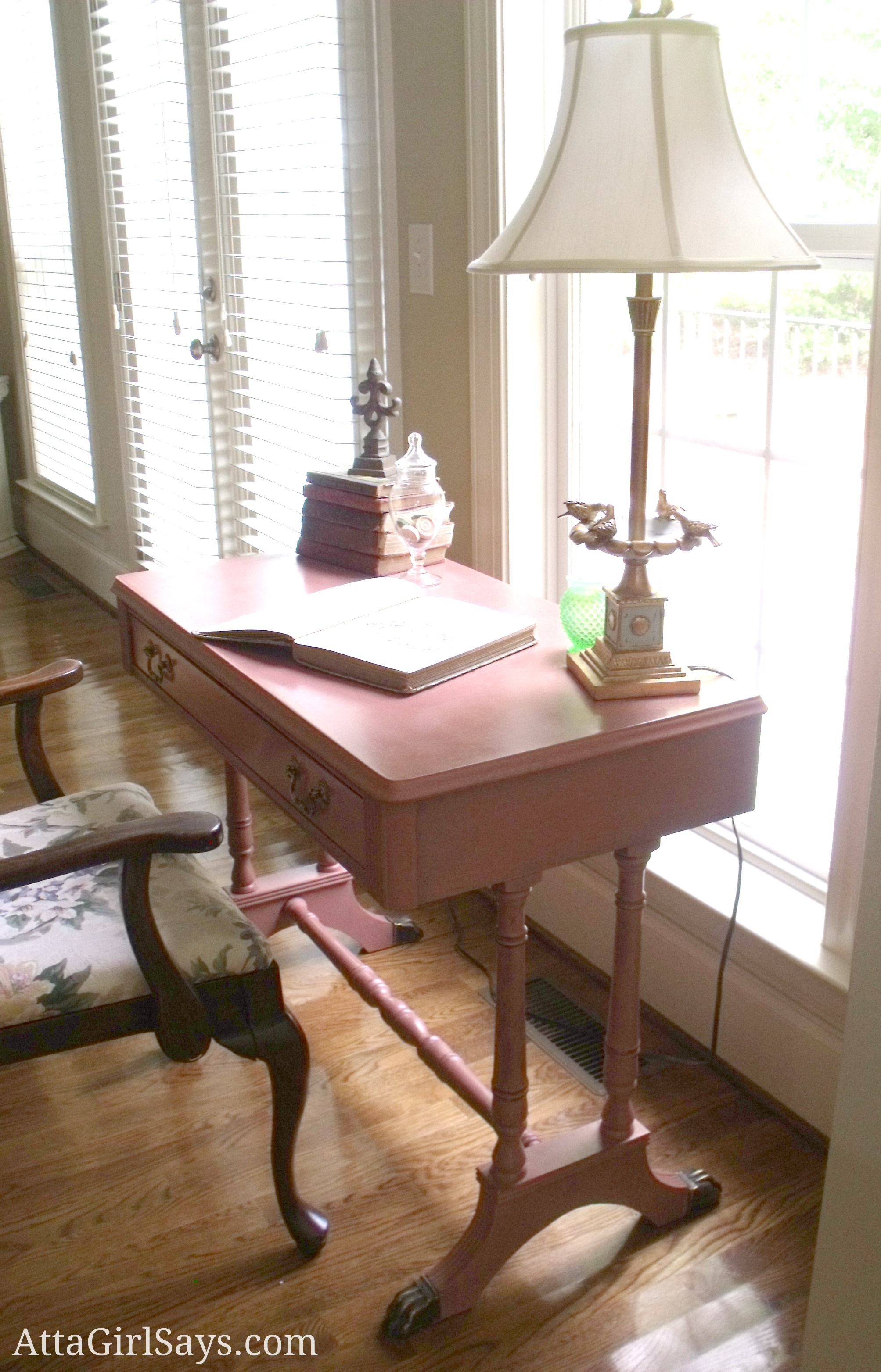 pink duncan phyfe writing desk atta girl says