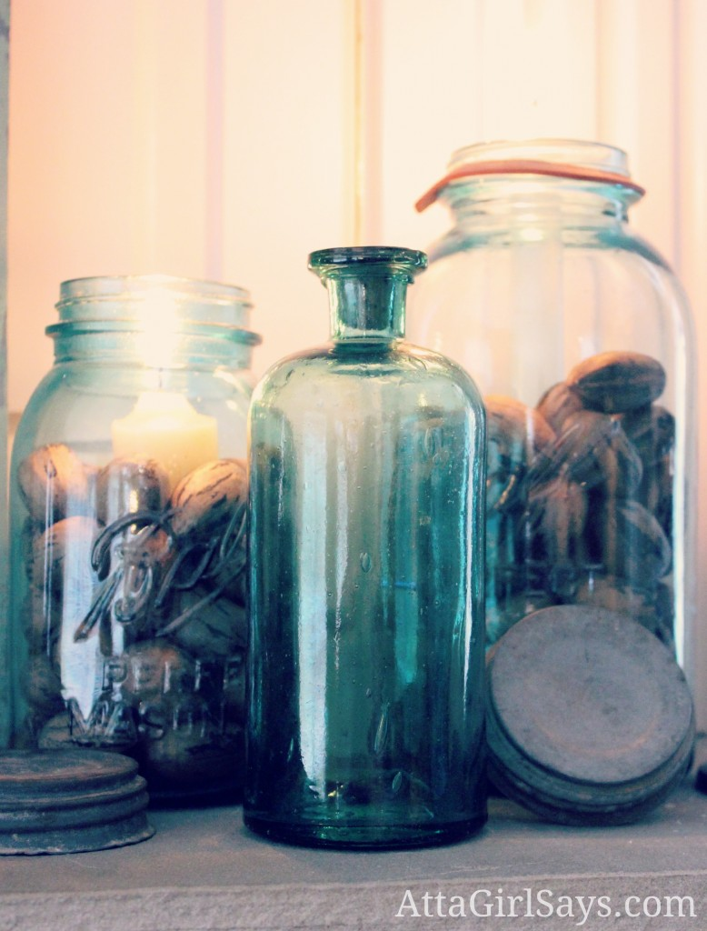 Fall Filled Vintage Blue Ball Jars by AttaGirlSays