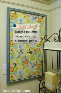 fabric covered bulletin board labeled