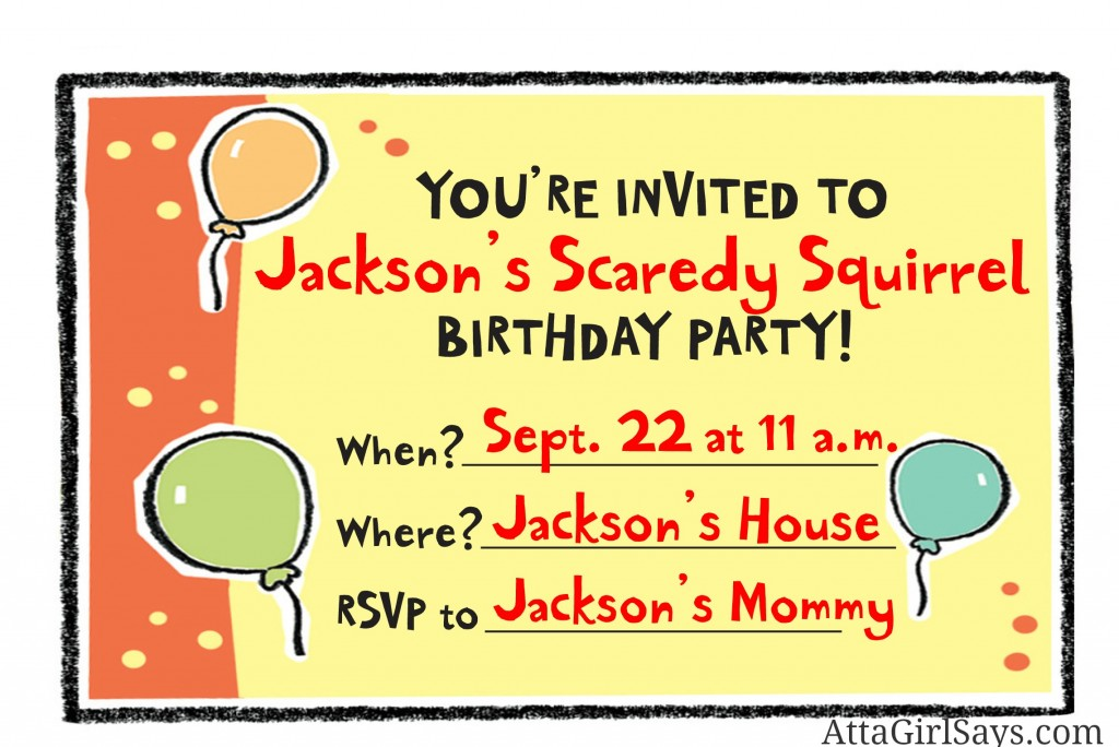 Scaredy Squirrel birthday party invitation by AttaGirlSays.com
