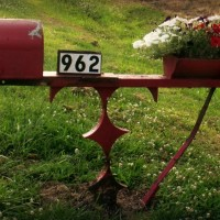 Farm implement red mailbox from Atta Girl Says