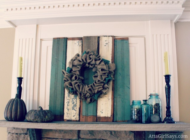 rustic fall mantel with blue mason jars by AttaGirlSays.com