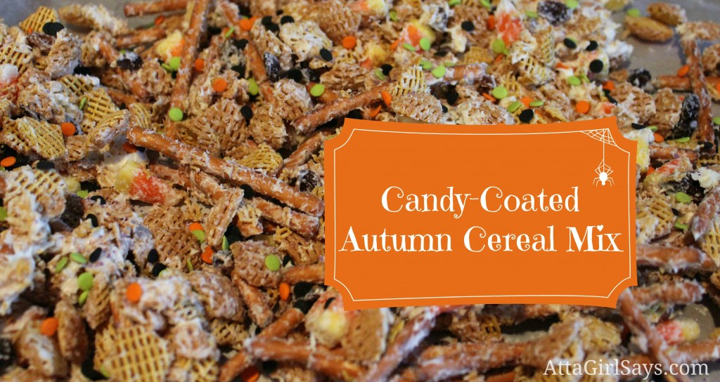 White Chocolate Candy Coated Autumn Cereal Mix Halloween Treat