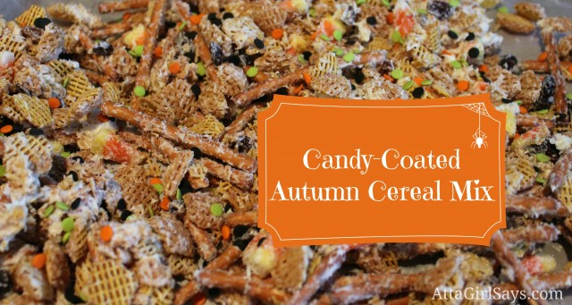 Candy Coated Autumn Chex Mix