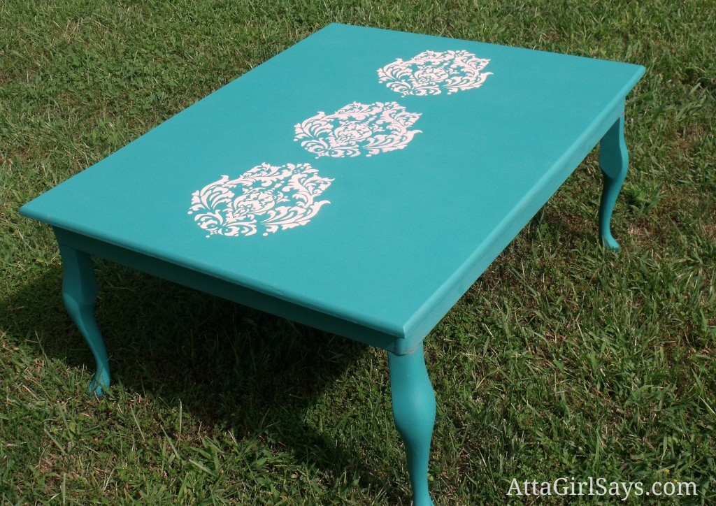 Damask stencil painted coffee Table in Annie Sloan Florence Chalk Paint by AttaGirlSays.com