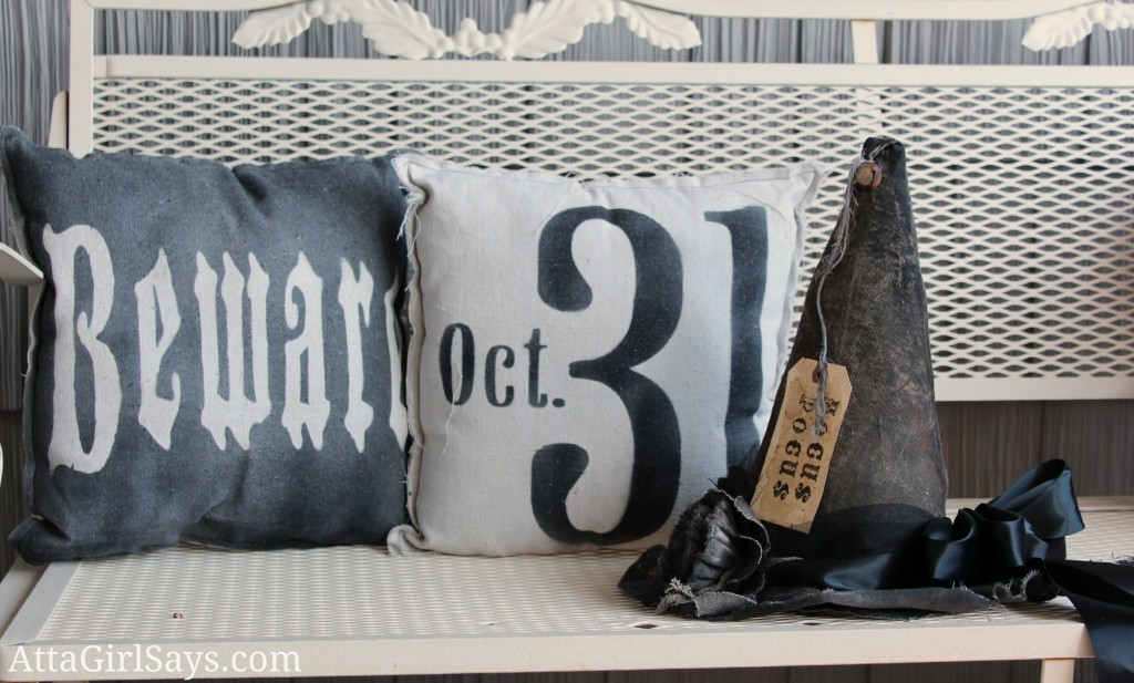 Halloween Stenciled Drop Cloth Pillows AttaGirlSays.com