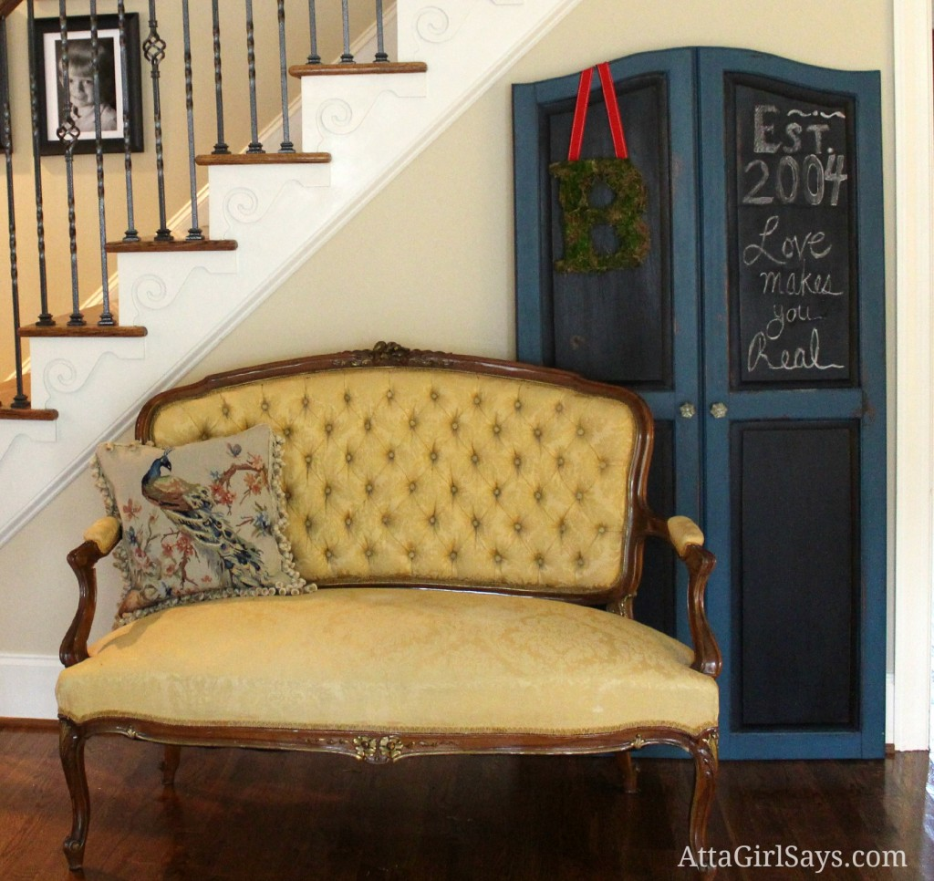 How to make a Chalkboard screen from old cabinet doors by AttaGirlSays.com