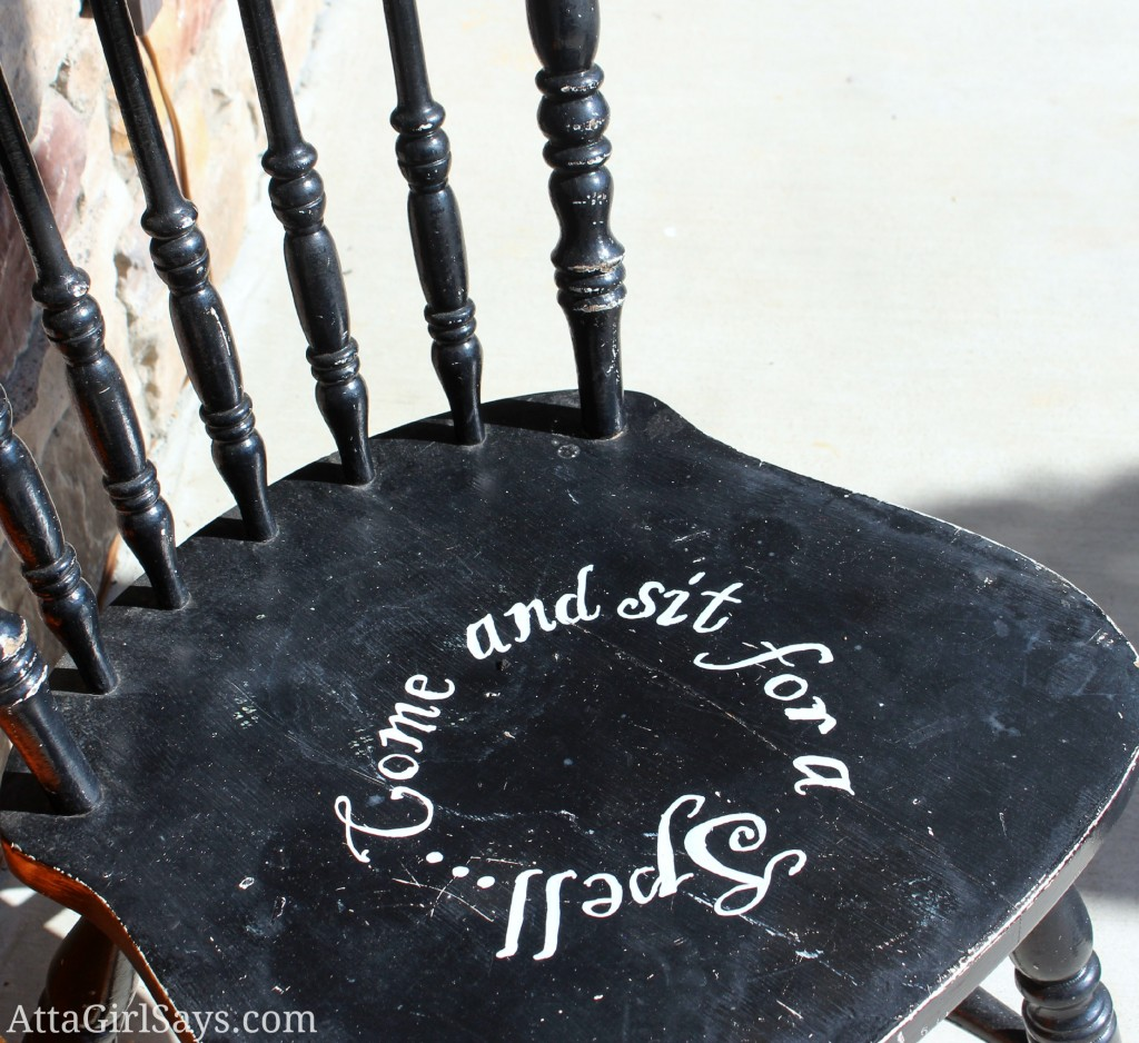 Southern saying painted chair Sit for a Spell AttaGirlSays.com