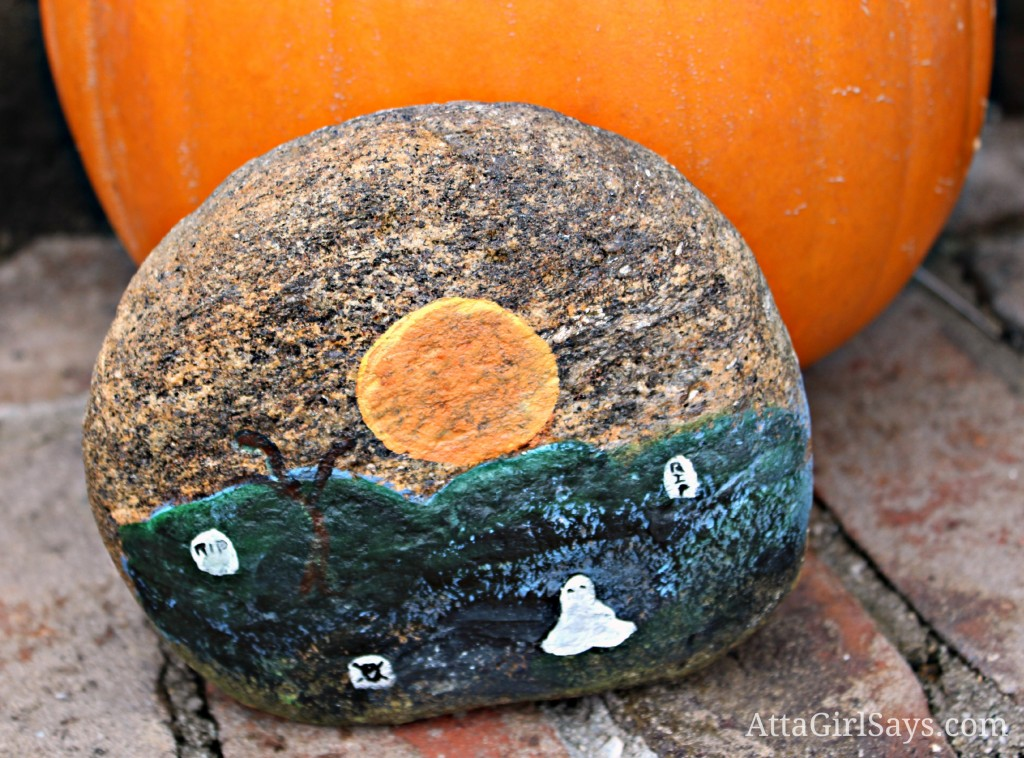 Handpainted RIP Halloween rock by AttaGirlSays.com