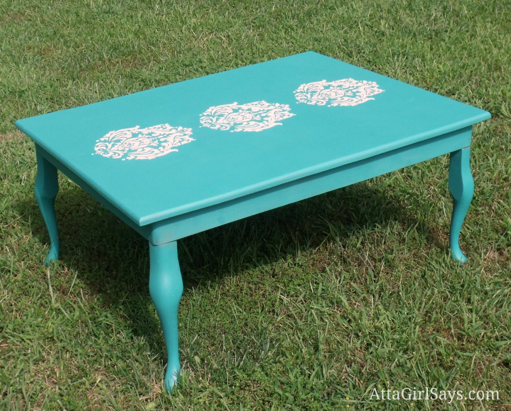 Stenciled Damask Coffee Table Painted in Annie Sloan Florence Chalk Paint by AttaGirlSays.com