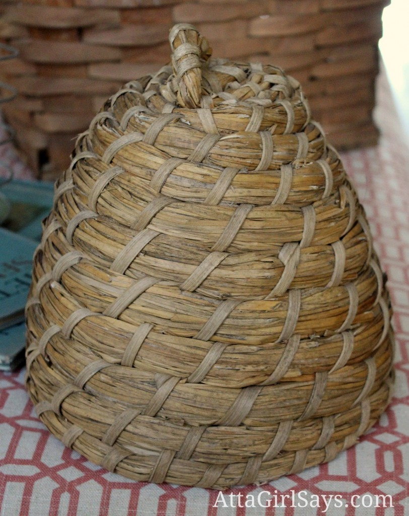 bee skep bee hive home decor thrift store shopping with AttaGirlSays.com
