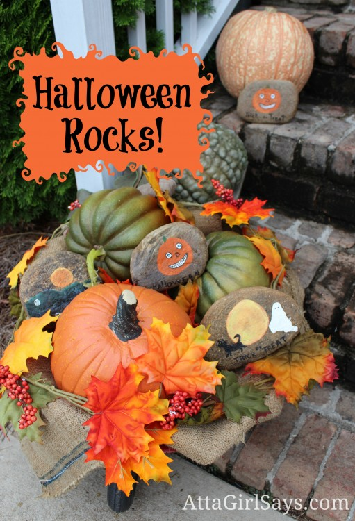 Fall Halloween Porch Decor with pumpkins and rocks