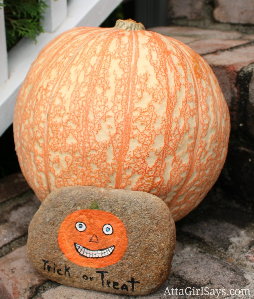 Handpainted halloween trick or treat rock by AttaGirlSays.com