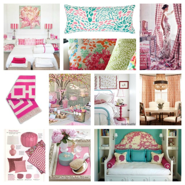 Pink and Aqua Bedroom Mood Board