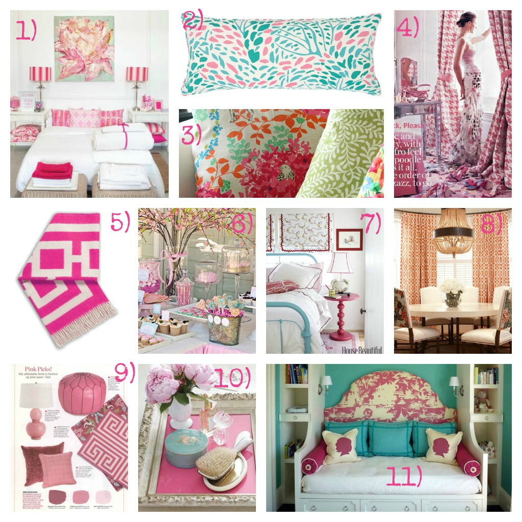 he guest bedroom is getting a bold, feminine makeover. This mood board is packed with lots of colorful pink and aqua bedroom ideas