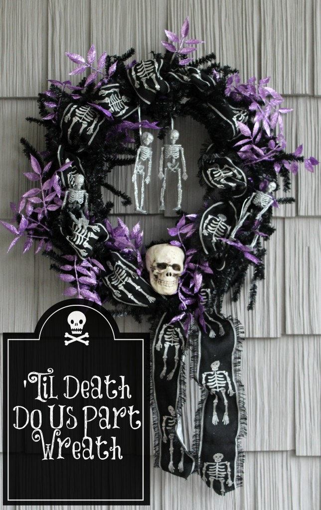 black and purple halloween wreath with glitter skeletons and skulls by AttaGirlSays.com