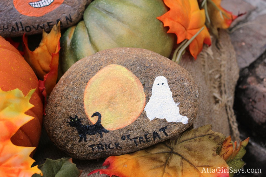 Handpainted Halloween decor trick or treat rock by AttaGirlSays.com