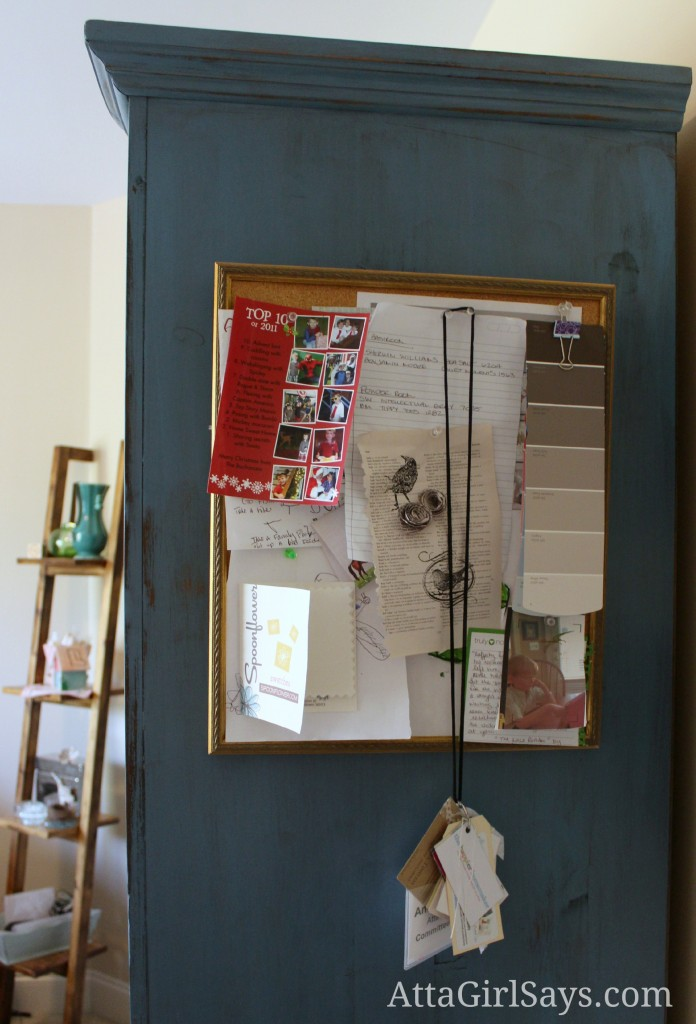 Craft Storage Armoire Bulletin Board