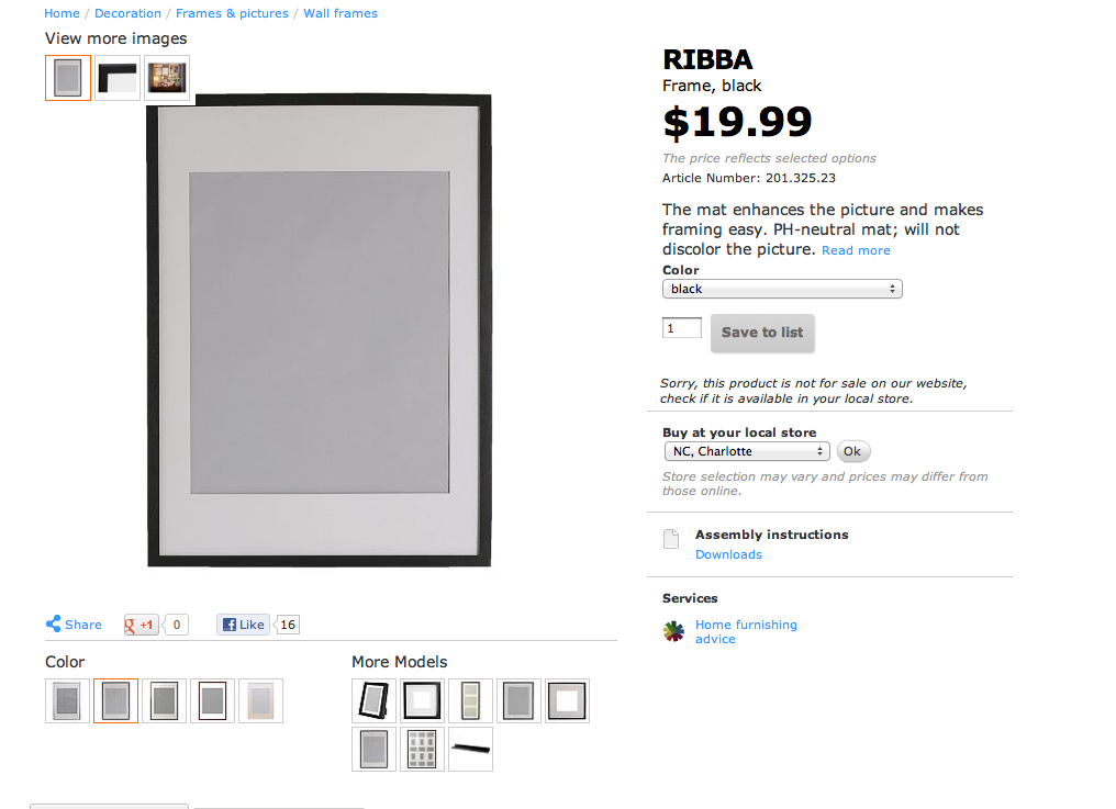 large black ikea ribba frame