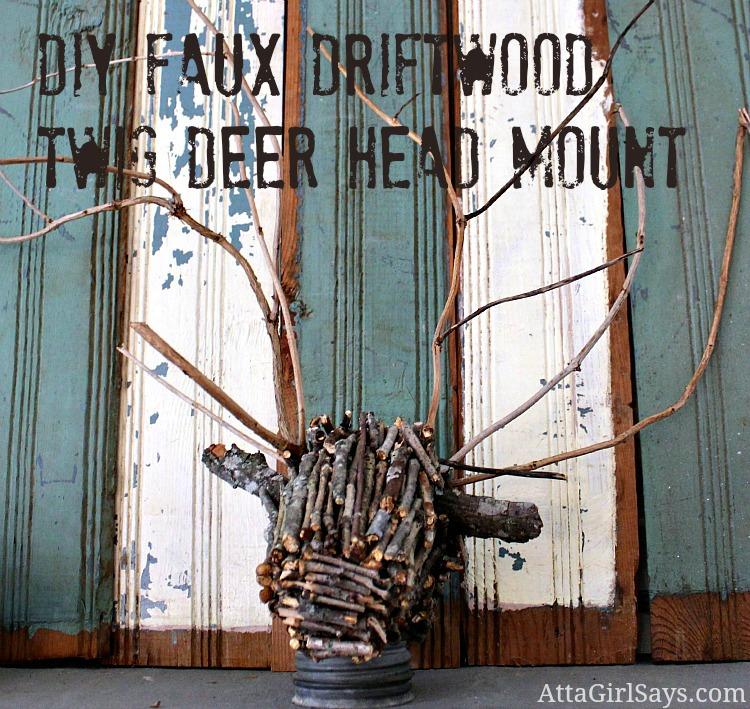 DIY Faux driftwood twig deer head mount by AttaGirlSays.com