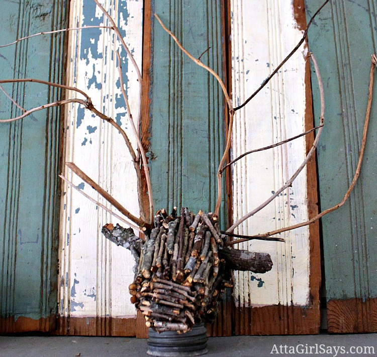 Handmade Twig Deer Head Deer Mount - Atta Girl Says