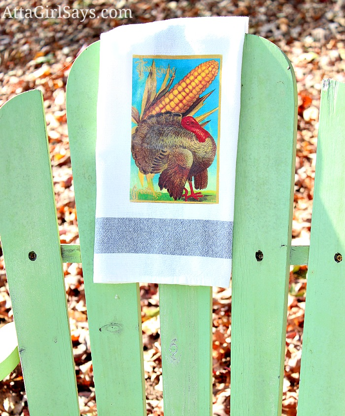 Vintage Thanksgiving Postcard Turkey Iron-On Transfer Hand Towel Easy Thanksgiving Hostess Gift