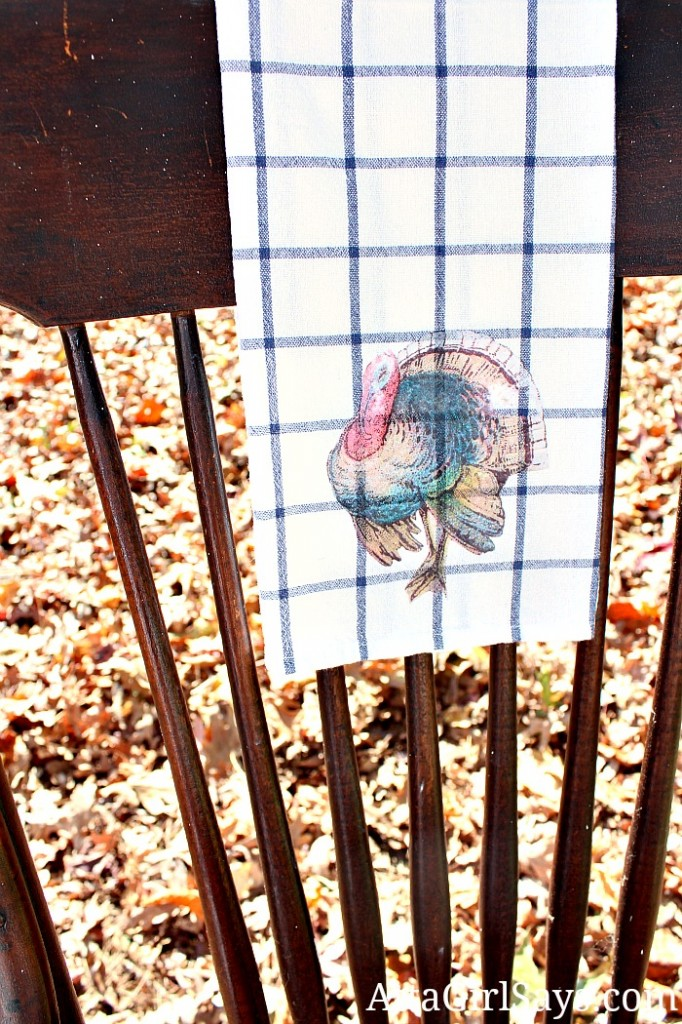 Vintage Turkey Thanksgiving iron-on transfer tea towel easy Thanksgiving hostess gift