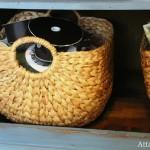 craft room jute basket ribbon storage