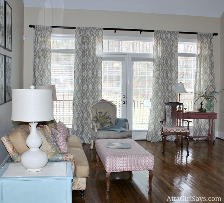 living room curtains Ballard Designs Susan Kassler Ikat curtain panels