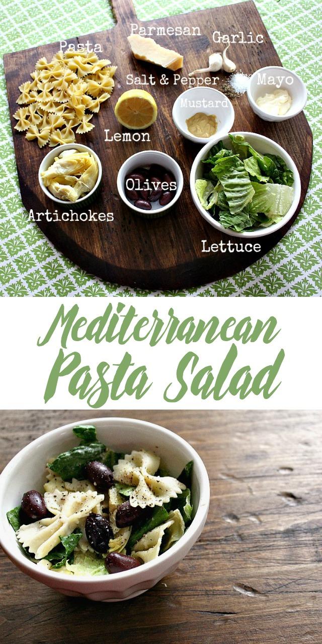 ingredients to make Mediterranean pasta salad