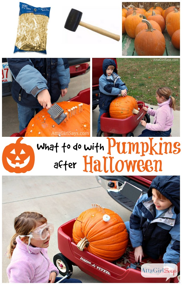 Clever ideas for what to do with pumpkins after Halloween., including fun kids' activities, recipe ideas and household tips.