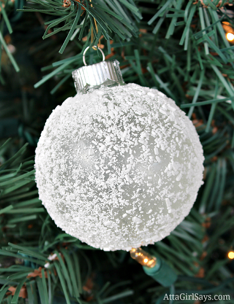 Epsom salt frosted glass Christmas ornament by AttaGirlSays.com