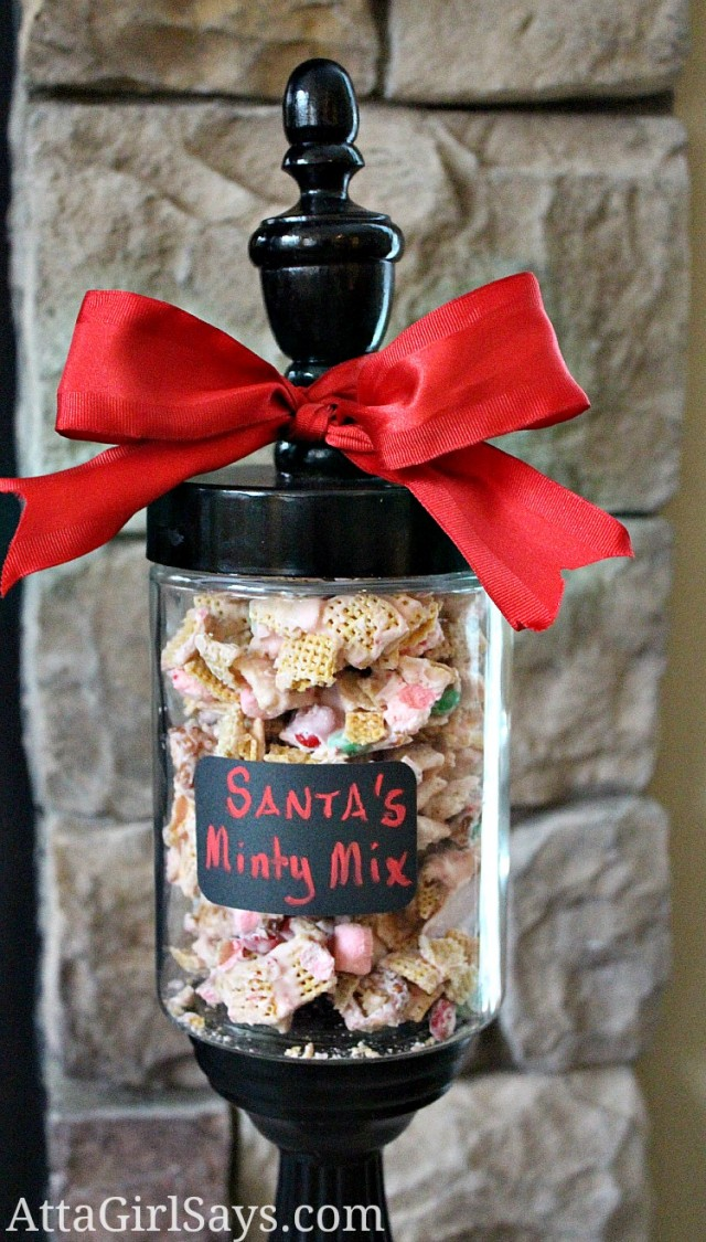 Santa's Minty Mix white chocolate peppermint cereal mix by AttaGirlSays.com