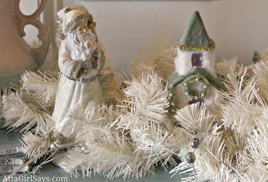 buffet vignette santa and paper Christmas village by AttaGirlSays.com