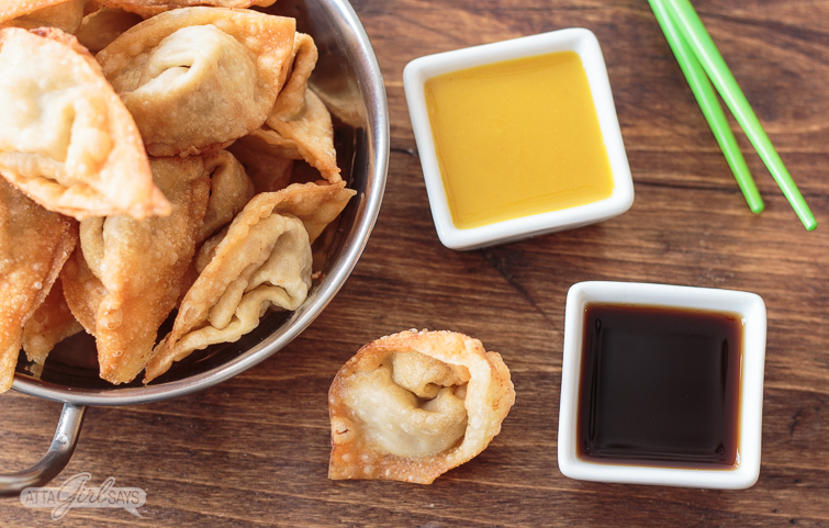 pork fried wonton with soy sauce and honey mustard dipping sauces