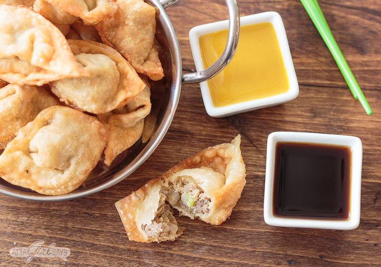 pork fried wonton recipe with two different serving sauces