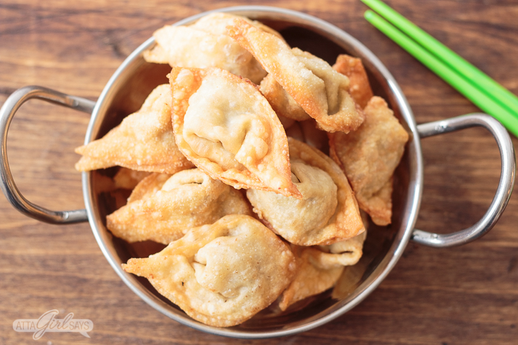 bowl filled with pork fried wontons