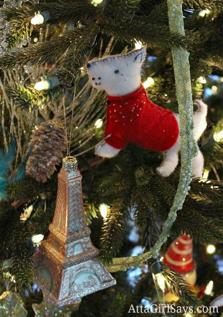 handmade felt Christmas tree ornament of a Westie dog